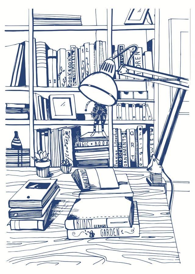 Современная внутренняя домашняя библиотека, книжные полки, рука нарисованная иллюстрация эскиза иллюстрация вектора