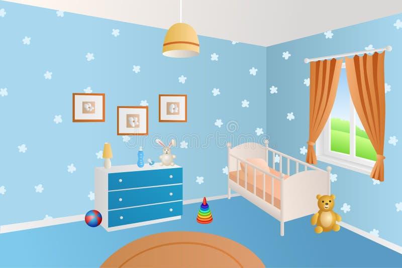 Современная внутренняя синь комнаты младенца забавляется белая иллюстрация окна кровати иллюстрация штока