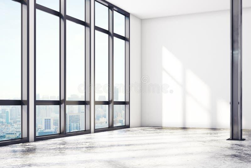 Современная галерея просторной квартиры с пустой стеной бесплатная иллюстрация