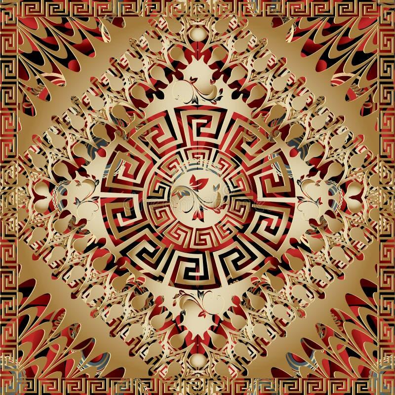 Современная геометрическая греческая ключевая картина панели 3d Meand вектора квадратное бесплатная иллюстрация