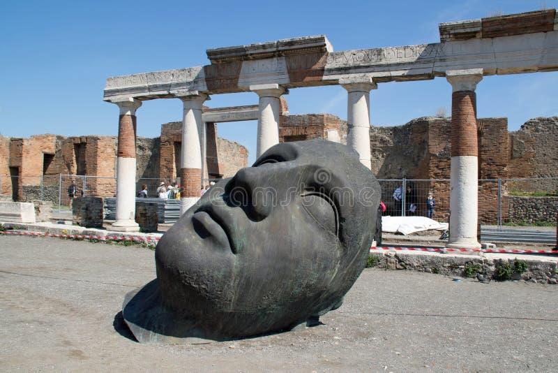 Современная голова Помпеи скульптуры стоковое фото rf