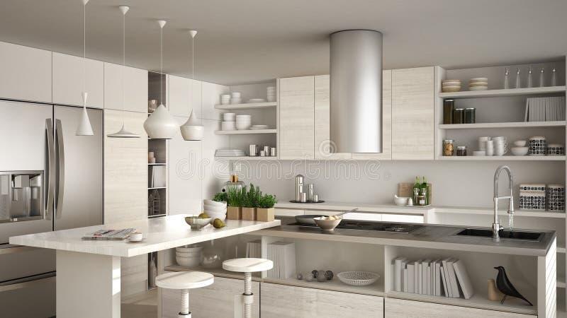 Современная деревянная кухня с деревянными деталями, конец вверх, остров с иллюстрация штока