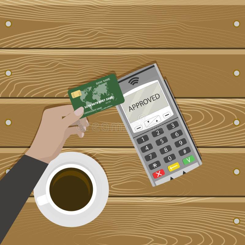 Современная добросердечная карта оплаты без контакта иллюстрация штока