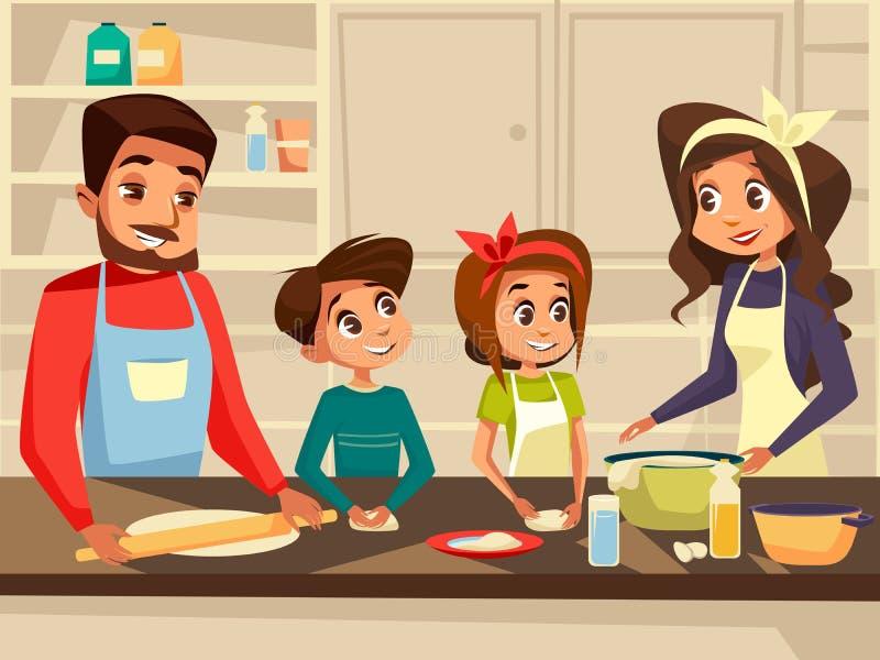 Современная европейская семья варя на иллюстрации шаржа вектора кухни плоской семьи совместно подготавливая еду еды иллюстрация штока