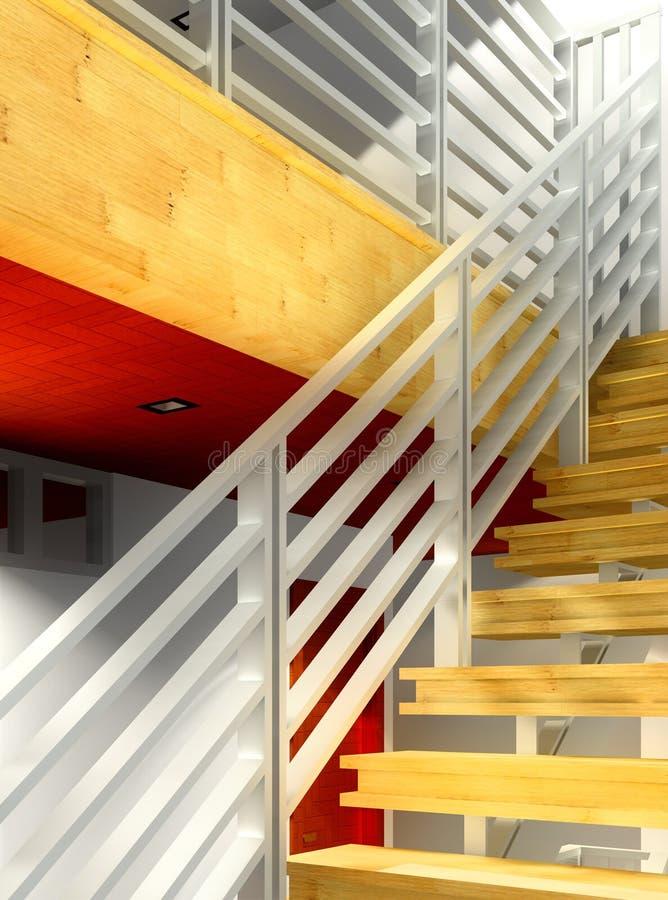 Современная лестница - интерьер иллюстрация штока