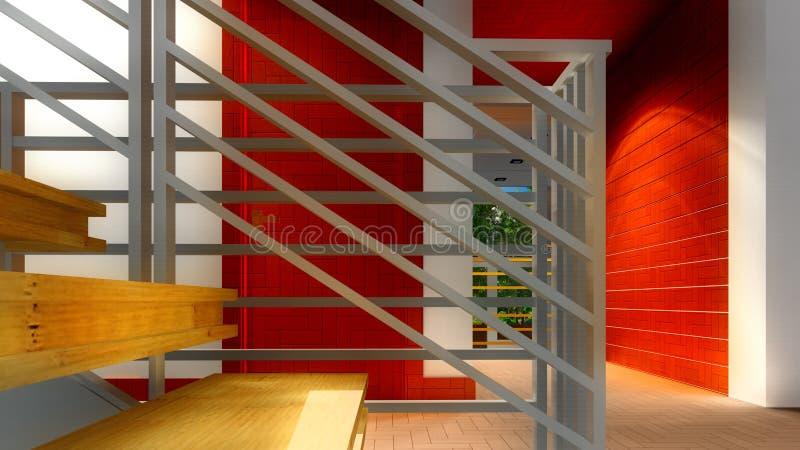 Современная лестница - интерьер иллюстрация вектора