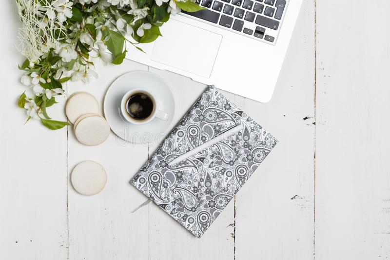 Современная женственная концепция рабочего места Ноутбук, кофе, красивые цветки яблони на белой таблице, взгляде сверху стоковое изображение rf