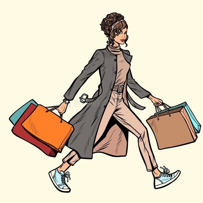 Современная женщина с хозяйственными сумками иллюстрация вектора
