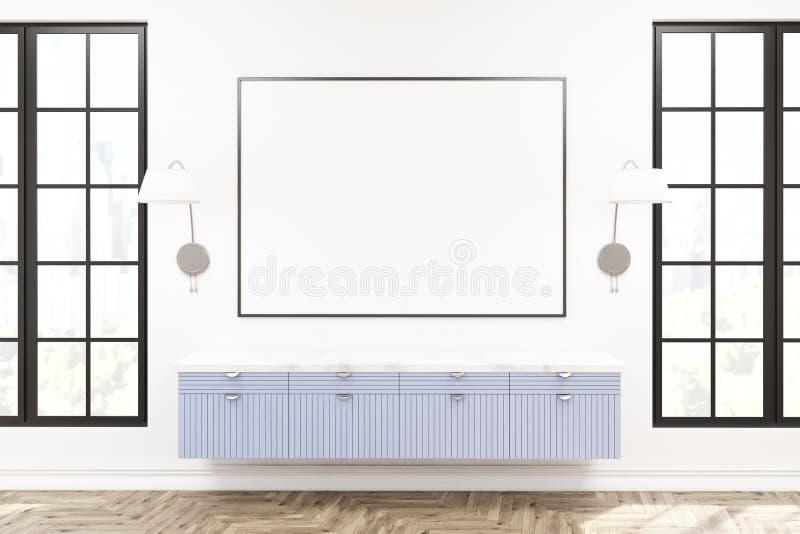Современная живущая комната внутренняя, деревянный шкаф бесплатная иллюстрация