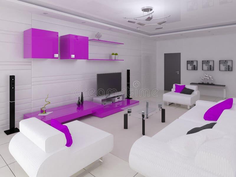 Современная живущая комната в стиле высок-техника с функциональной мебелью иллюстрация штока