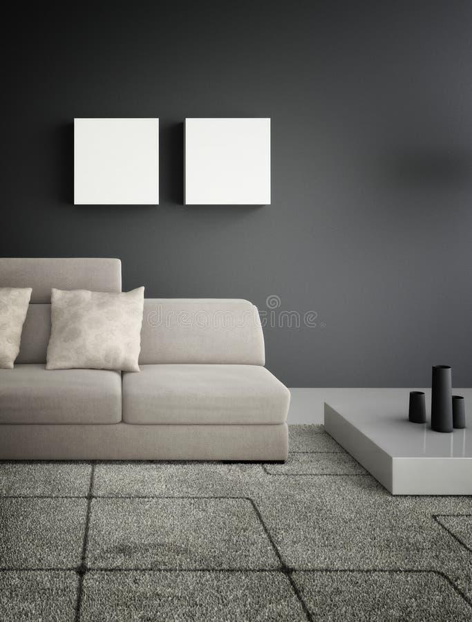 Современная живущая комната   Интерьер архитектуры иллюстрация штока