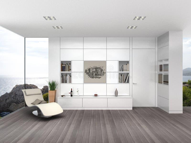 Современная живущая комната с белым восхождением на борт стены иллюстрация вектора
