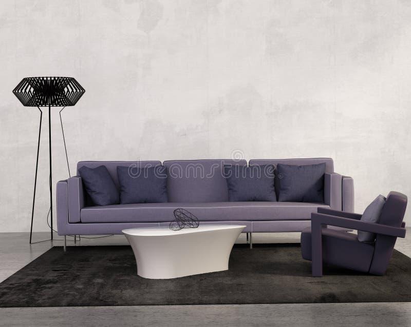 Современная живущая комната с фиолетовой софой бесплатная иллюстрация