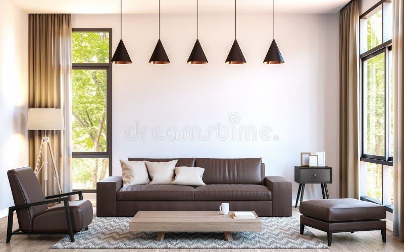 Современная живущая комната украшает с коричневым кожаным изображением перевода мебели 3d иллюстрация штока