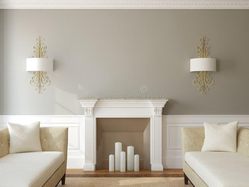 Современная жить-комната с камином. иллюстрация вектора