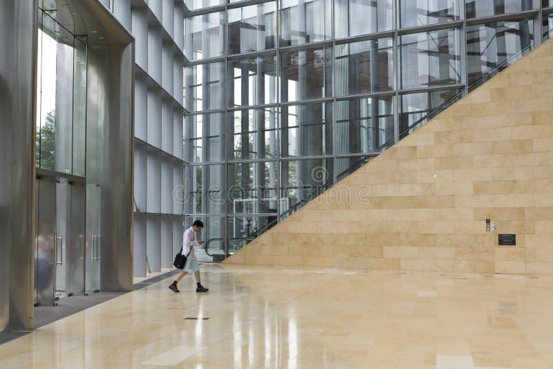 Современная зала офисного здания с стеклянной стеной, железным каркасом, мраморным полом; стена, строб и лобби окна в размерах оф стоковое изображение