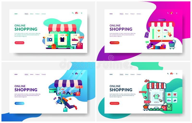 современная иллюстрация вектора онлайн покупок и ходя по магазинам магазина Современная идея проекта дизайна интернет-страницы дл иллюстрация вектора