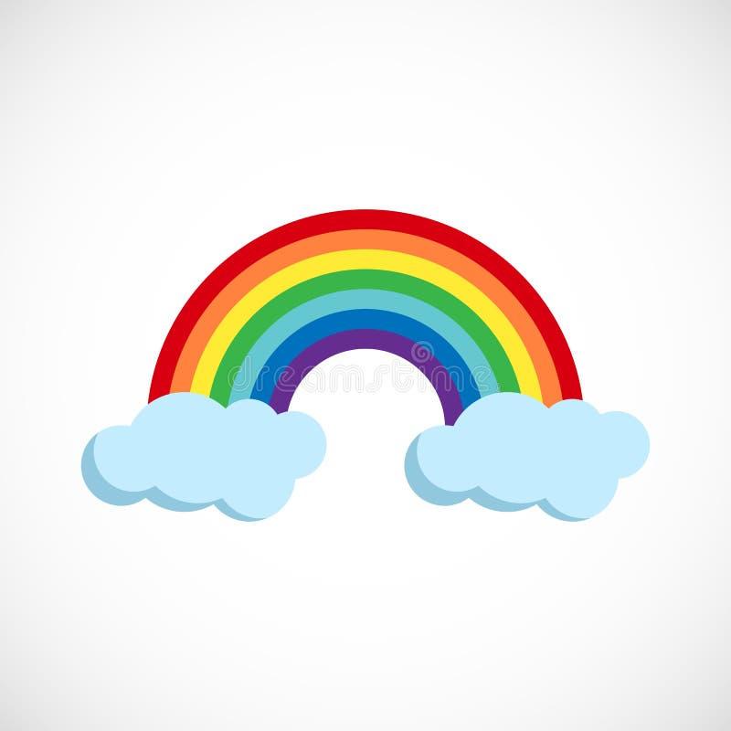 Современная иллюстрация вектора радуги и облаков Плоский прогнозиров иллюстрация вектора