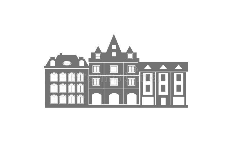 Современная иллюстрация горизонта города - иллюстрация горизонта города современной архитектуры конспекта городская стоковые изображения rf