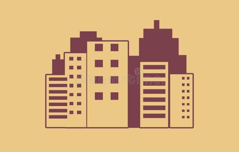 Современная иллюстрация горизонта города - иллюстрация горизонта города современной архитектуры конспекта городская стоковое изображение
