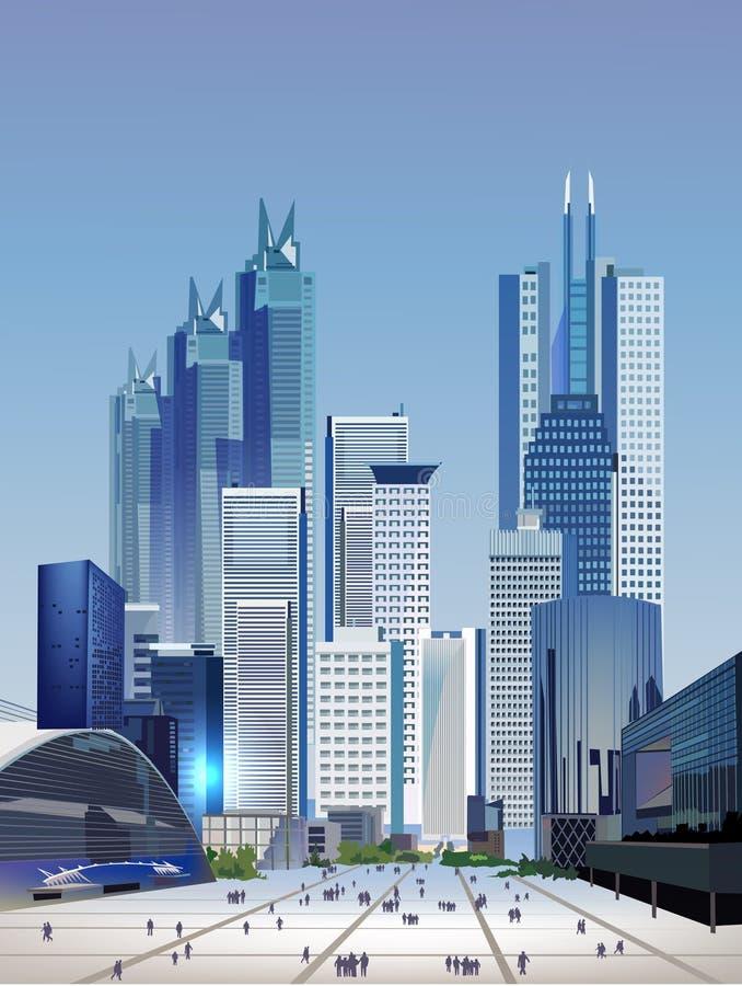 Современная иллюстрация города с небоскребами иллюстрация вектора
