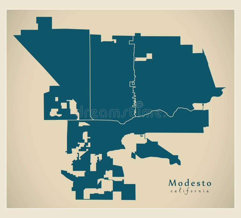 Современная карта города - город Modesto Калифорния США с районами иллюстрация вектора