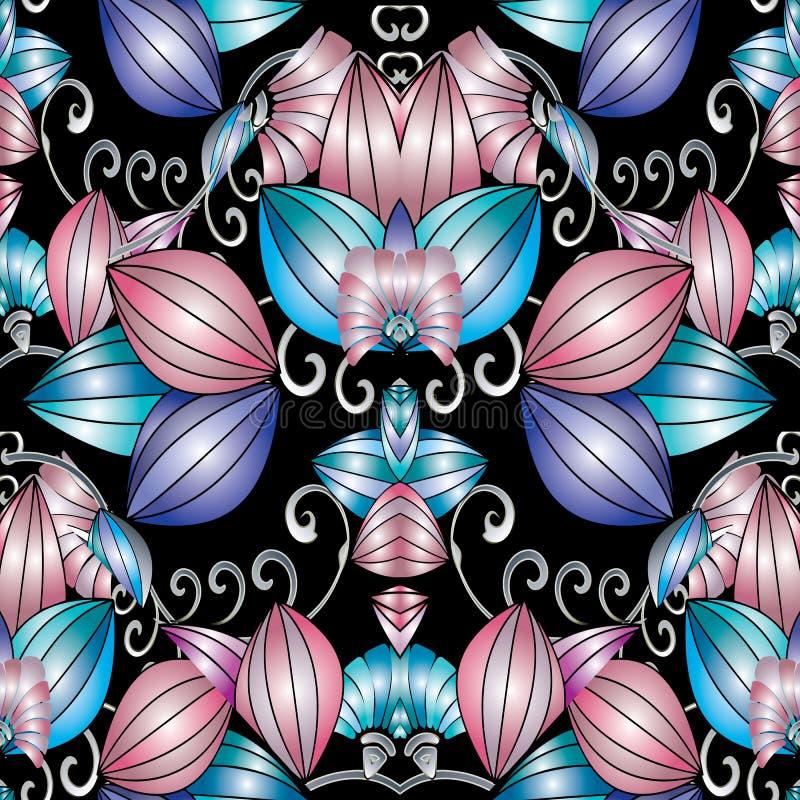 Современная картина конспекта 3d флористическая безшовная Wi предпосылки вектора иллюстрация штока