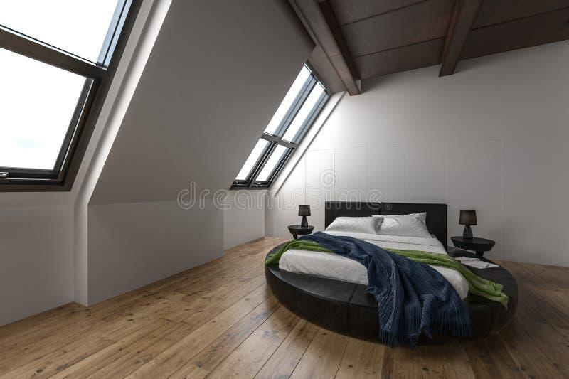 Современная квартира чердака с наклоненными окнами бесплатная иллюстрация