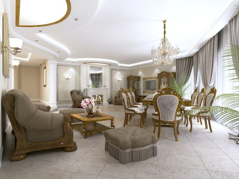 Современная комната прожития классики в стиле стиля Арт Деко с обеденным столом и взглядами кухни и фойе бесплатная иллюстрация