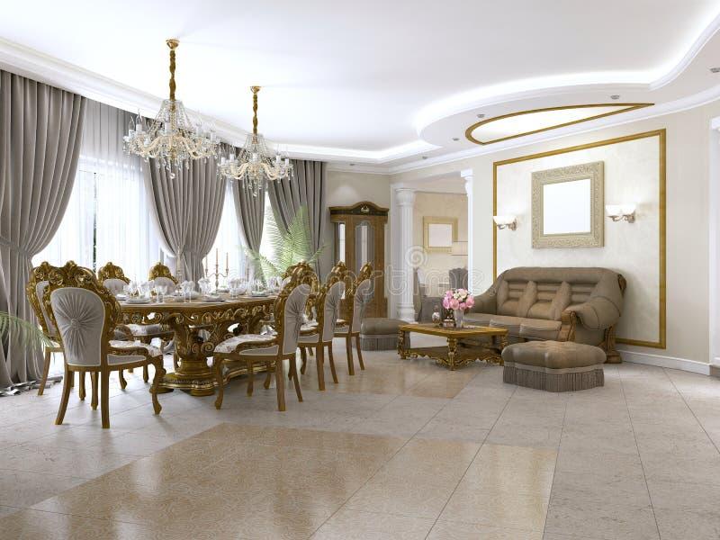 Современная комната прожития классики в стиле стиля Арт Деко с обеденным столом и взглядами кухни и фойе иллюстрация штока