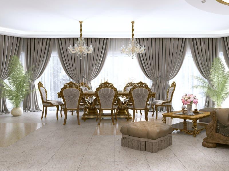 Современная комната прожития классики в стиле стиля Арт Деко с обеденным столом и взглядами кухни и фойе иллюстрация вектора