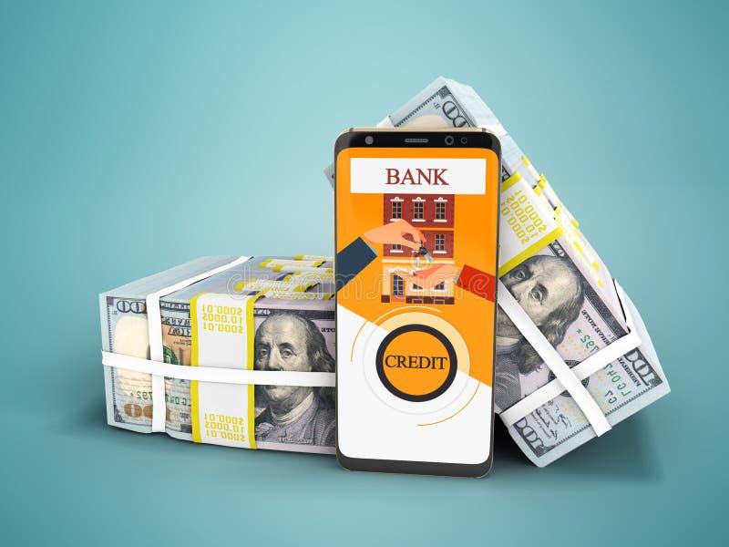 Современная концепция для того чтобы принять заем через банк в приложении на толпе иллюстрация вектора
