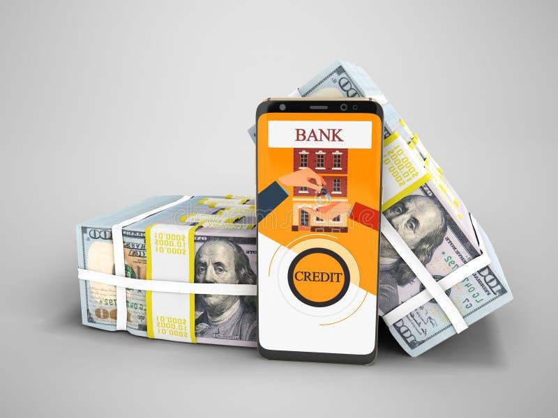 Современная концепция для того чтобы принять заем через банк в приложении на толпе иллюстрация штока