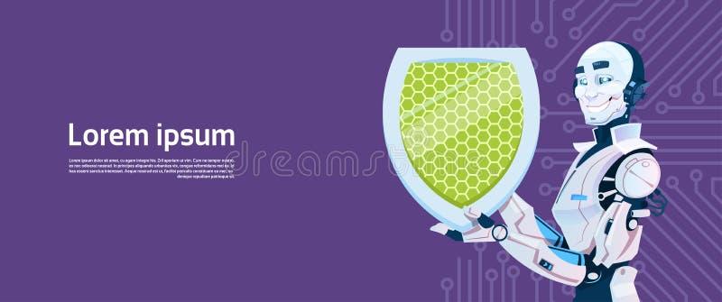 Современная концепция защиты данных экрана владением робота, футуристическая технология механизма искусственного интеллекта иллюстрация вектора
