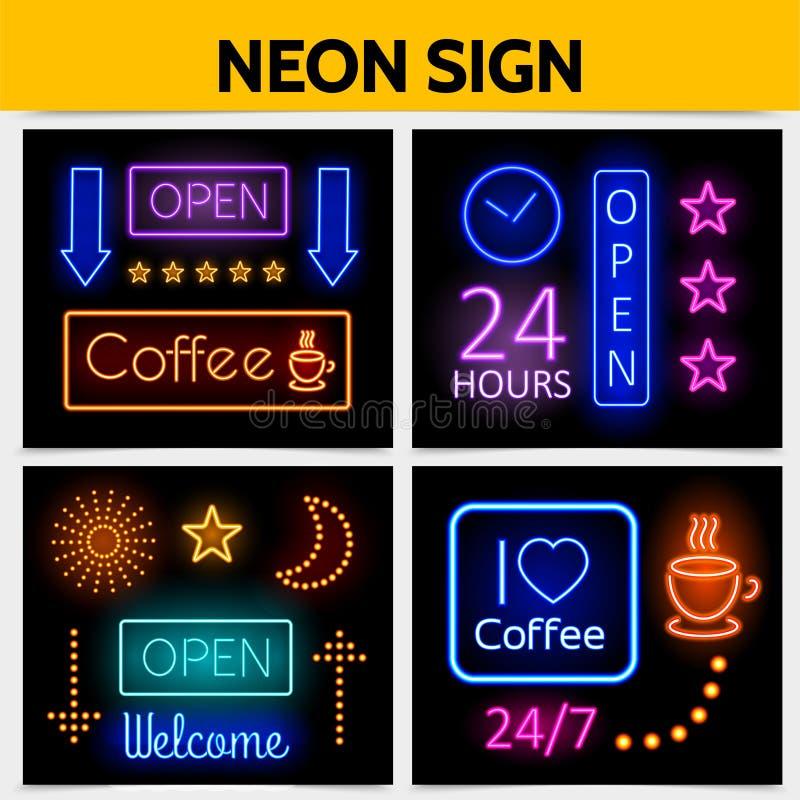 Современная концепция неоновых вывесок рекламы цифров бесплатная иллюстрация