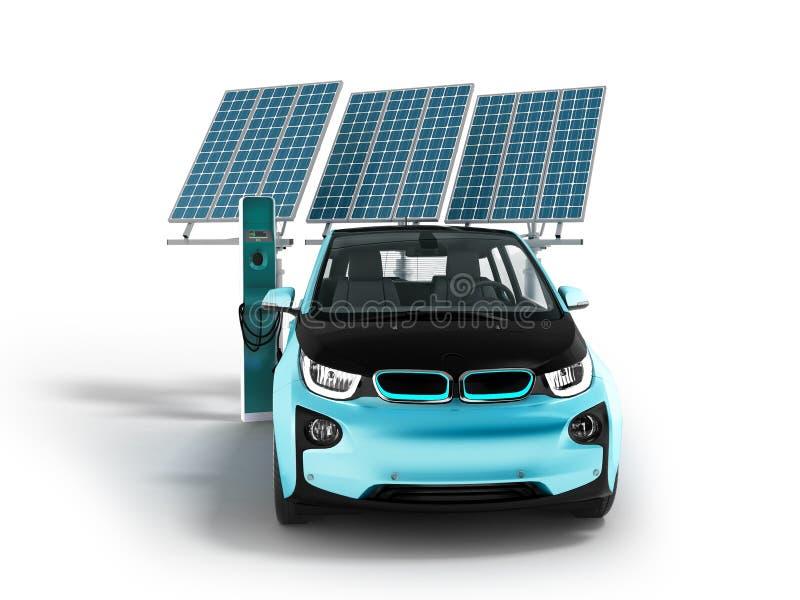 Современная концепция поручая панелей солнечных батарей с электрическим автомобилем для перевода фронта 3d города на белой предпо иллюстрация штока