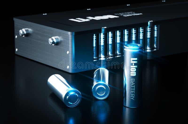 Современная концепция технологии литий-ионного аккумулятора Гальванические элементы Li-иона металла с блоком батарей электротранс иллюстрация вектора