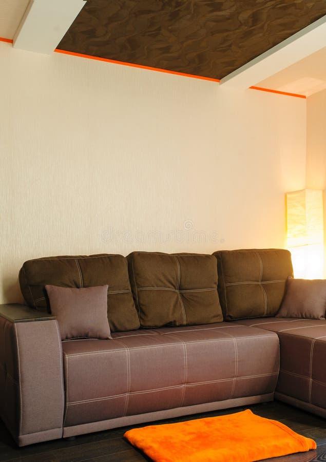 Современная коричневая софа в внутреннем взгляде комнаты стоковые изображения rf