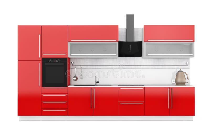 Современная красная мебель кухни с Kitchenware перевод 3d иллюстрация вектора