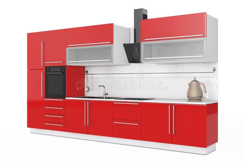 Современная красная мебель кухни с Kitchenware перевод 3d бесплатная иллюстрация