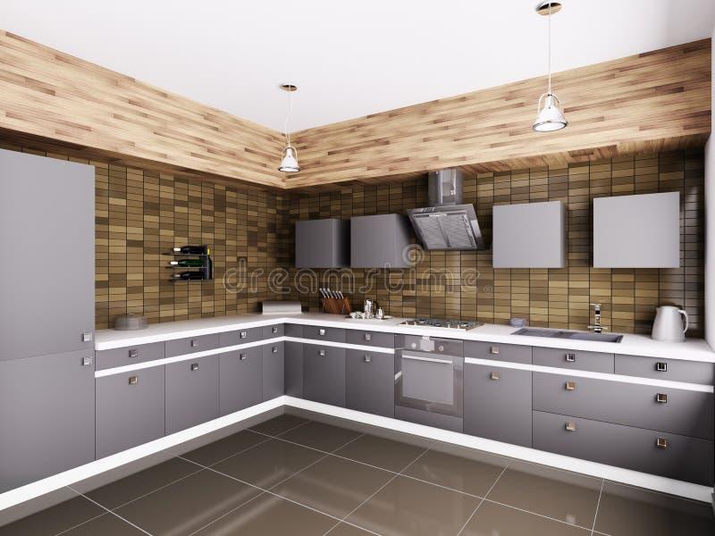 Современная кухня внутреннее 3d иллюстрация штока