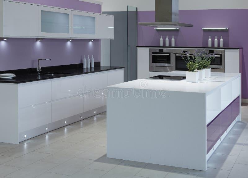 Современная кухня роскоши верхнего сегмента стоковое фото