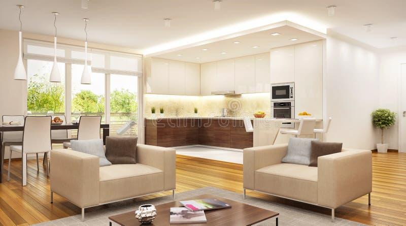 Современная кухня совмещенная с открытым пространством живущей комнаты стоковое изображение