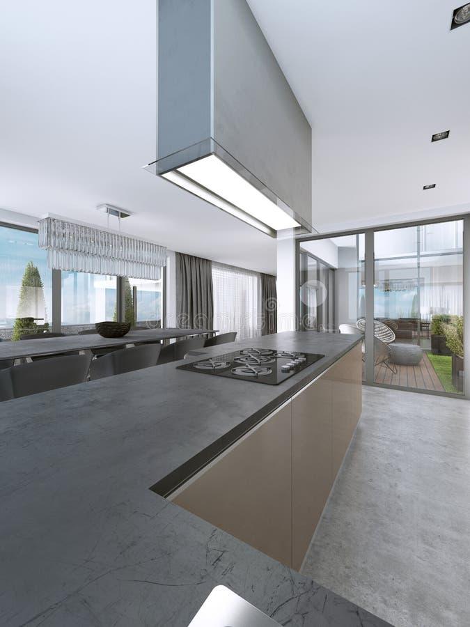 Современная кухня с большими окнами и остров с барными стулами иллюстрация штока