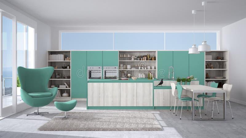 Современная кухня с деревянными деталями, большой ветер белизны и бирюзы иллюстрация штока