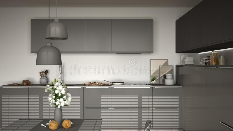 Современная кухня с таблицей и стульями, варящ лоток и еду, clos иллюстрация штока