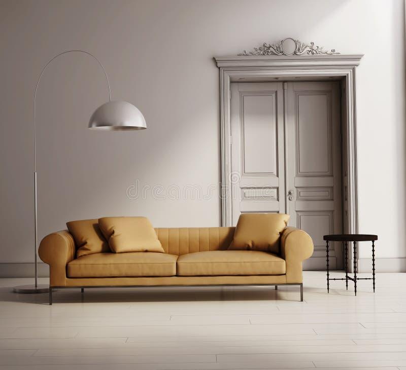 Современная классическая живущая комната, бежевая кожаная софа иллюстрация вектора
