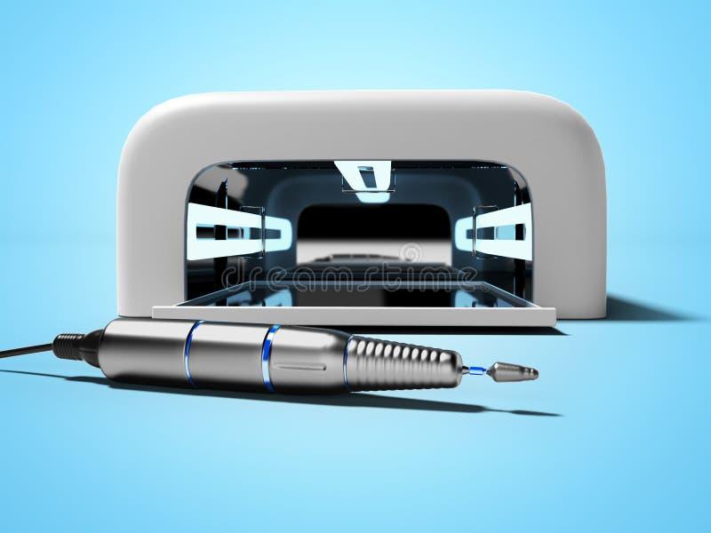 Современная лампа ультрафиолетова для расширений ногтя со сверля машиной 3D представить на голубой предпосылке с тенью иллюстрация штока