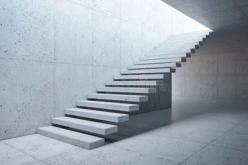 Современная лестница в конкретном интерьере иллюстрация вектора