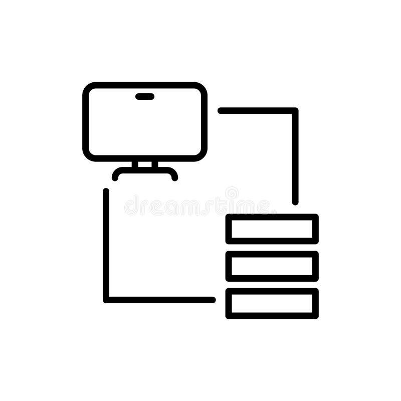 Современная линия значок сервера бесплатная иллюстрация
